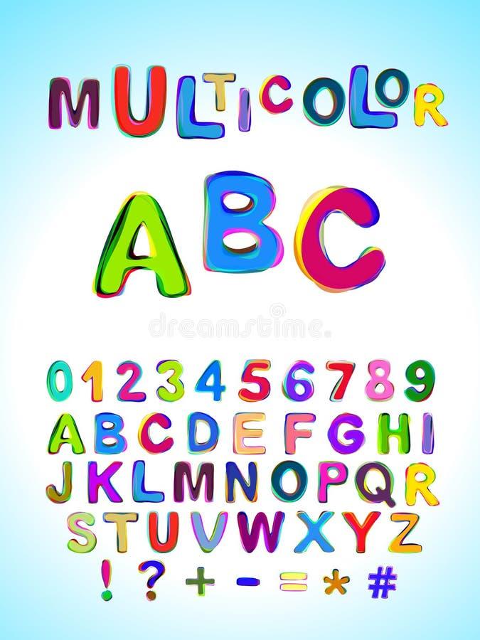 Veelkleurig ABC Heldere multicolored gemengde letters en getallen stock illustratie