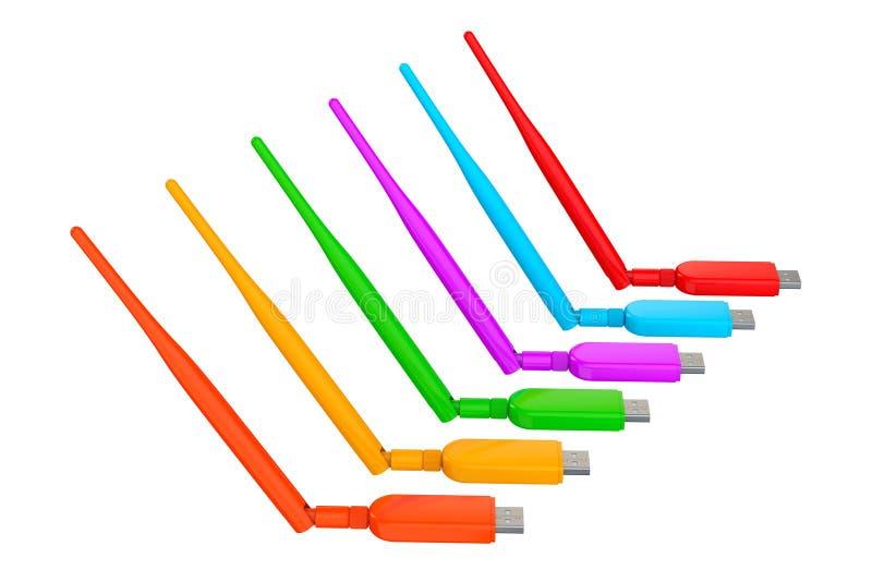 Veelkleurig Draadloos USB 3G, 4G Modems het 3d teruggeven vector illustratie