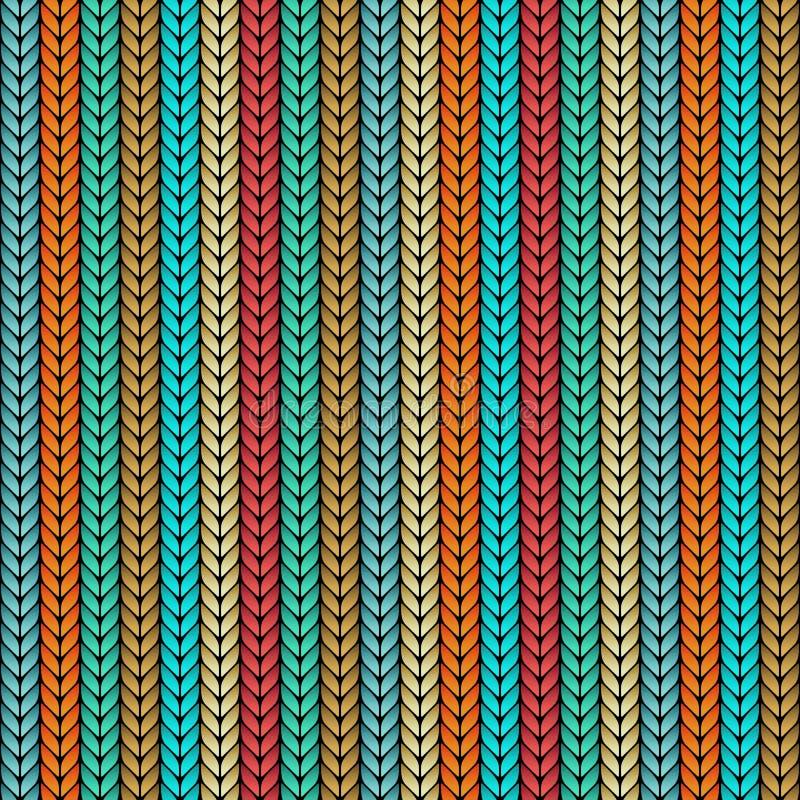 Veelkleurig gebreid naadloos patroon vector illustratie