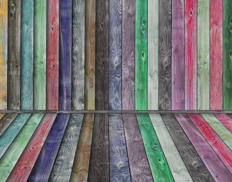 Veelkleurig houten binnenland royalty-vrije stock fotografie