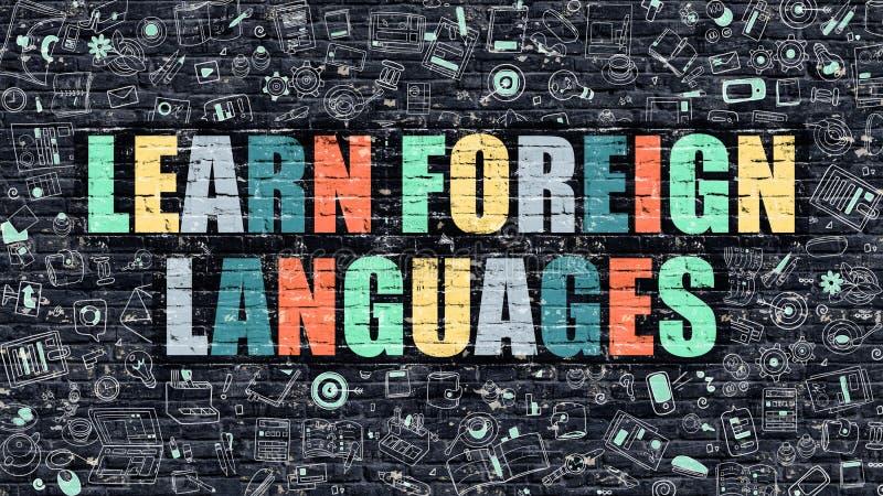 Veelkleurig leer Vreemde talen op Donkere Brickwall vector illustratie