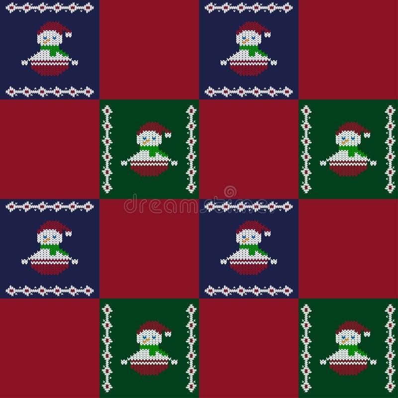 Veelkleurig naadloos patroon met gebreide sneeuwmannen De winterpatroon De naadloze vectorachtergrond van de lapwerkstijl royalty-vrije illustratie