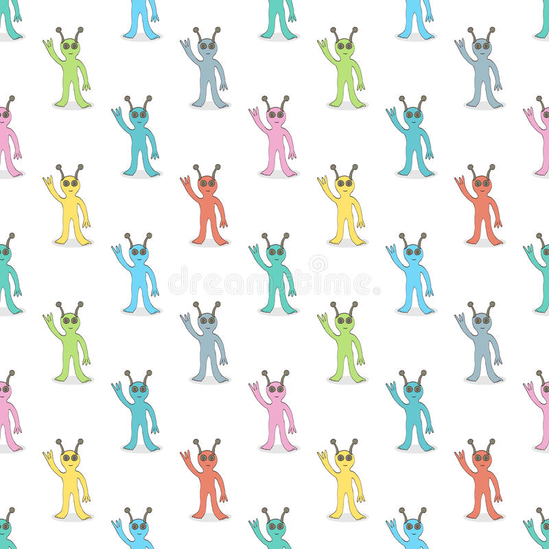 Veelkleurig vreemdelingen naadloos patroon vector illustratie