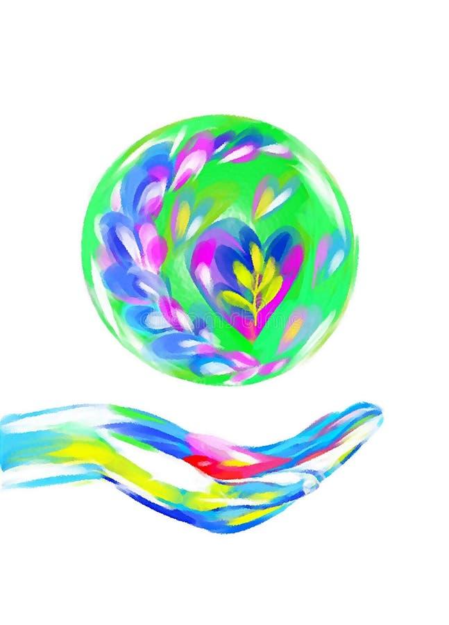 Veelkleurige ballon over de palm met een hart beeld royalty-vrije stock foto's