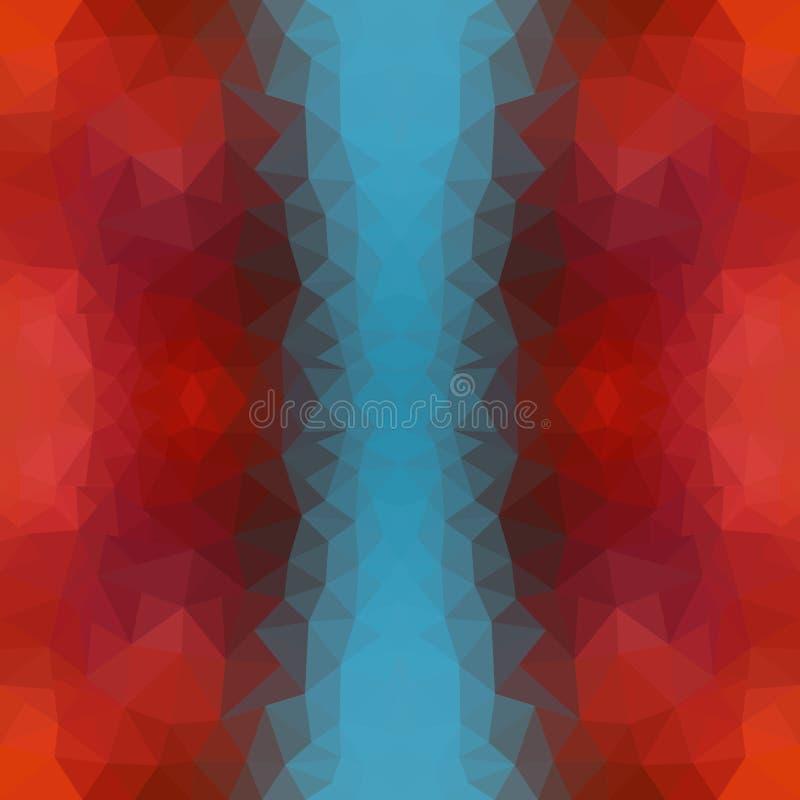 Veelkleurige blauwe, rode veelhoekige illustratie, wat uit driehoeken bestaan Geometrische achtergrond in Origamistijl met stock illustratie