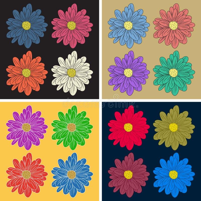 Veelkleurige bloemreeks royalty-vrije illustratie