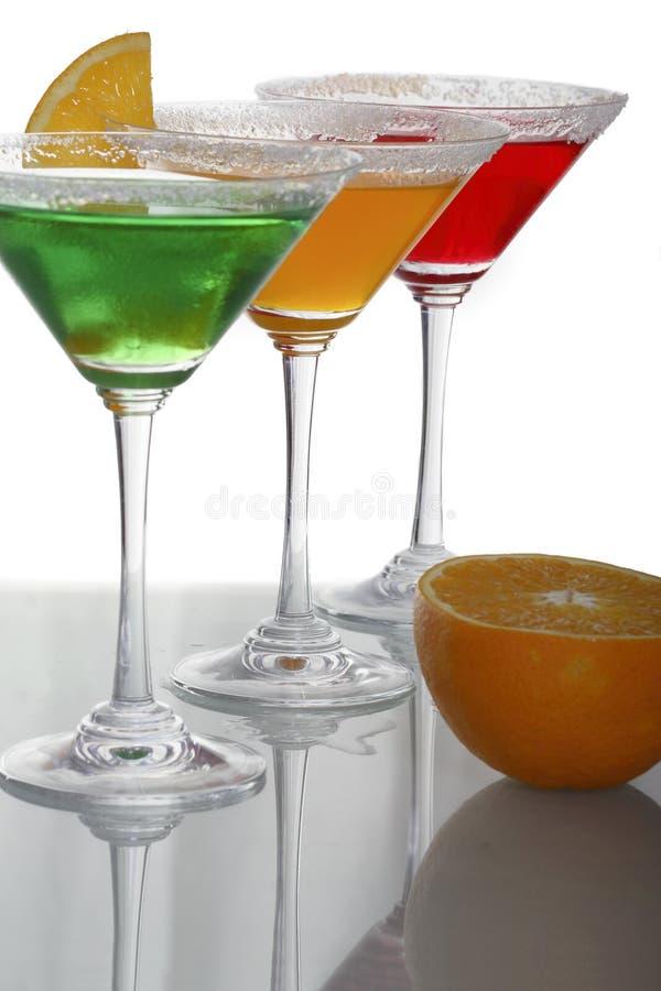 Veelkleurige cocktails & citrusvrucht royalty-vrije stock foto