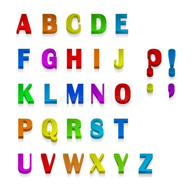 Veelkleurige 3d beschikbare Doopvonten, alle brieven Vector illustratie royalty-vrije illustratie