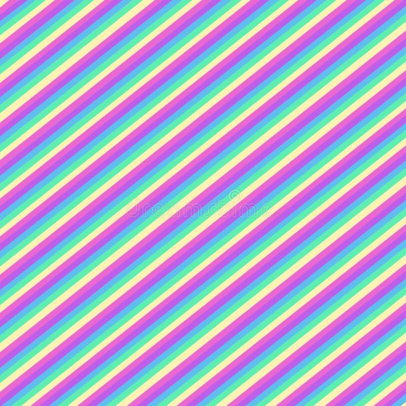 Veelkleurige diagonale strepen, naadloos patroon stock illustratie
