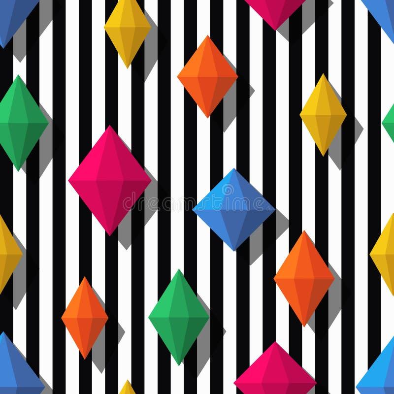 Veelkleurige diamanten, gemmen op zwarte witte strepen, naadloos patroon vector illustratie