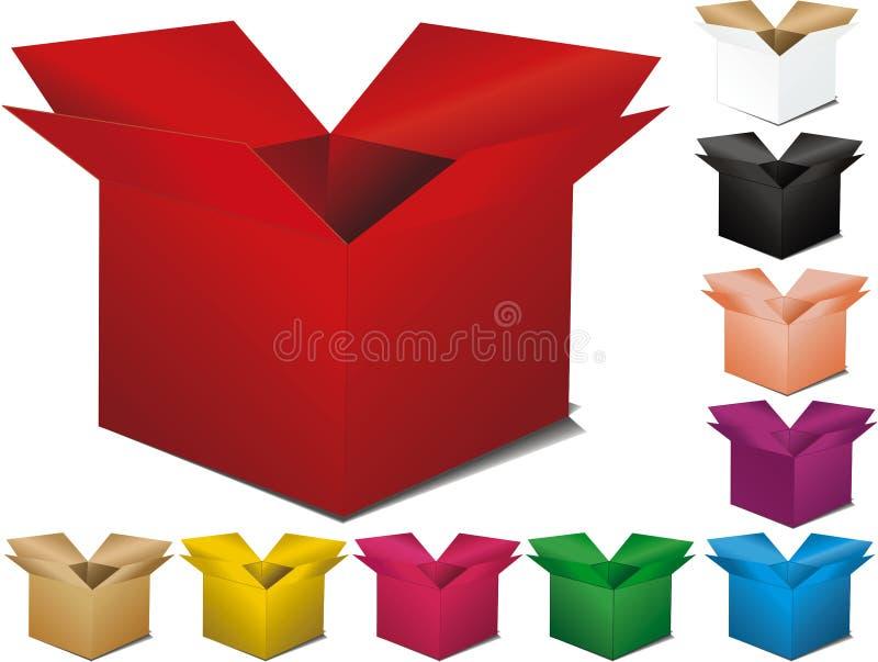 Veelkleurige doos stock illustratie