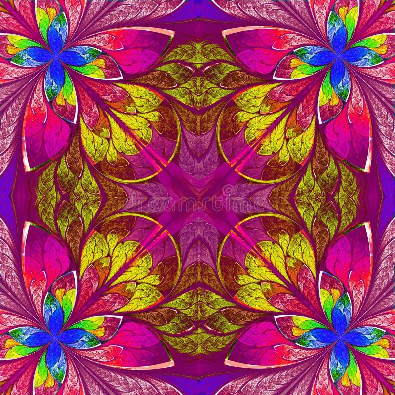 Veelkleurige fractal in de stijl van het gebrandschilderd glasvenster. royalty-vrije illustratie