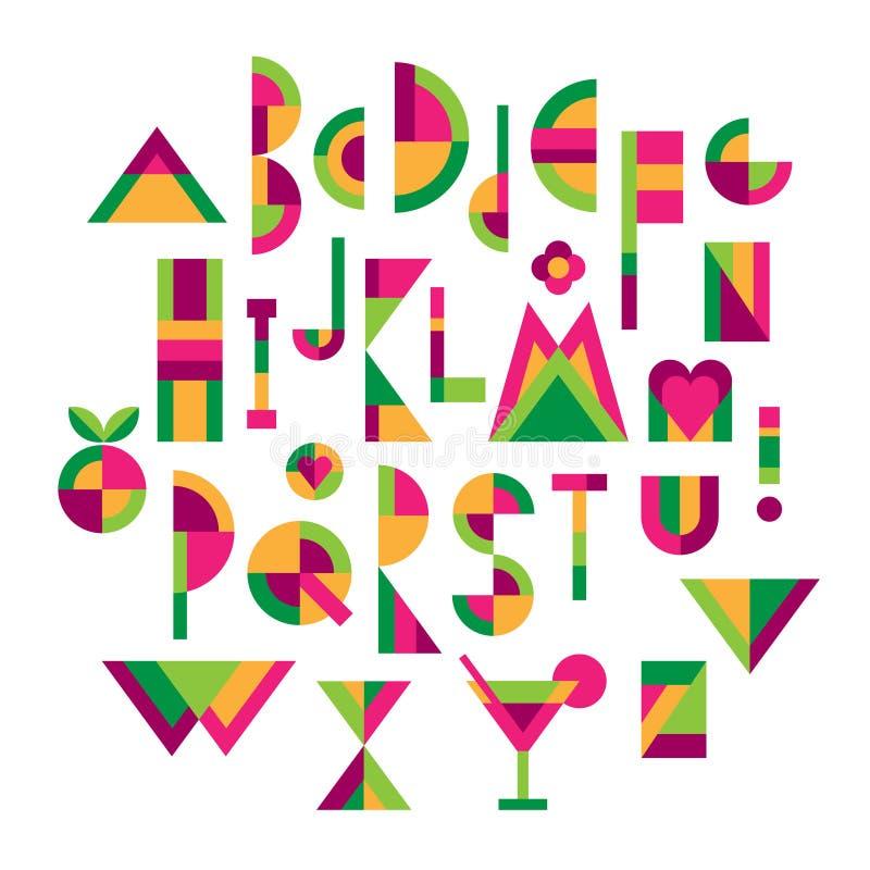 Veelkleurige geometrische alphabeth royalty-vrije illustratie