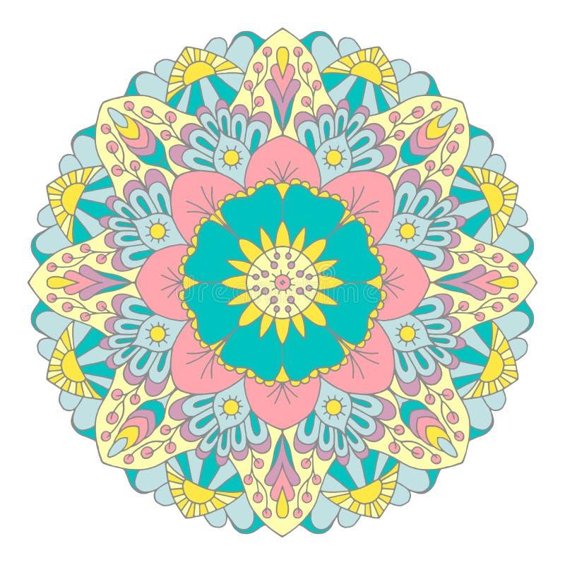 Veelkleurige grafische mandala met etnische en bloemenmotieven vector illustratie