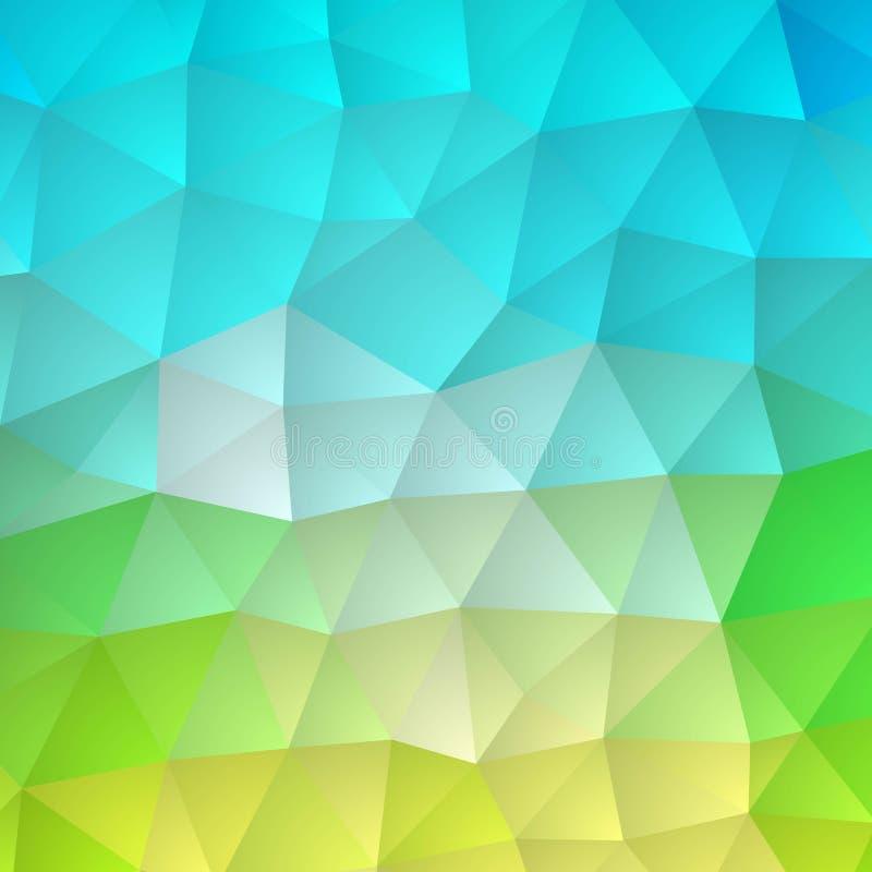 Veelkleurige groene, blauwe veelhoekige illustratie, wat uit driehoeken bestaan Geometrische achtergrond in Origamistijl met grad stock illustratie