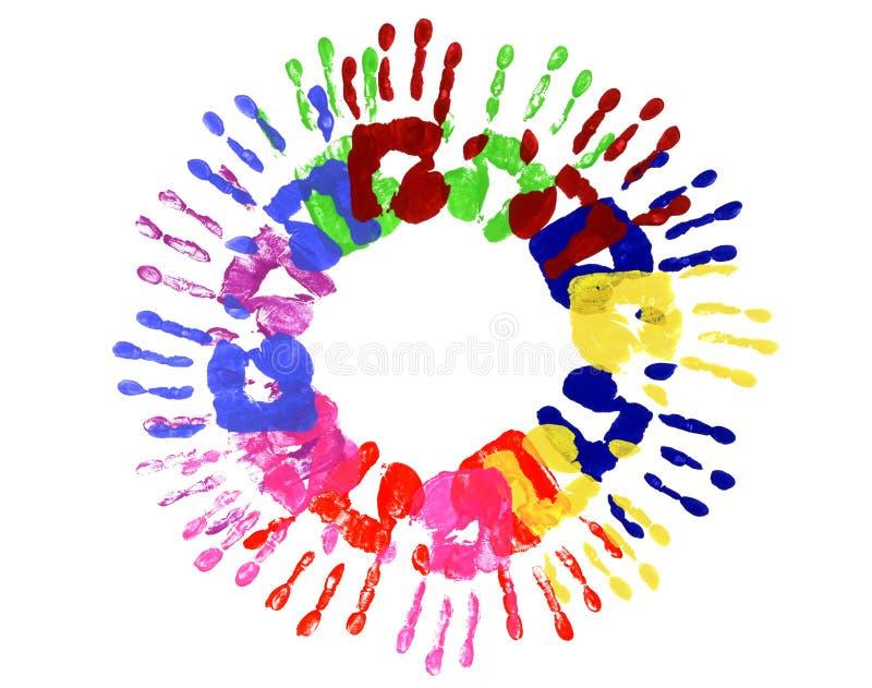 Veelkleurige Handprintscirkel stock afbeelding