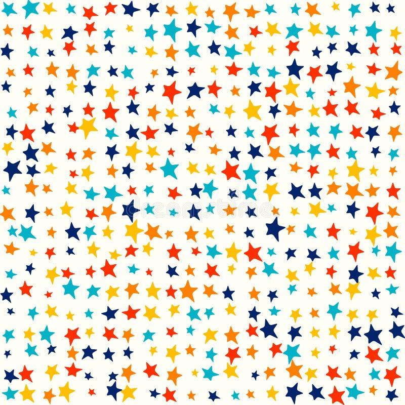 Veelkleurige heldere sterren, willekeurige levendige kleuren - de Leuke achtergrond van het jonge geitjespatroon royalty-vrije illustratie