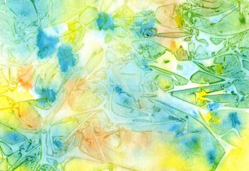 Veelkleurige heldere waterverfachtergrond stock illustratie