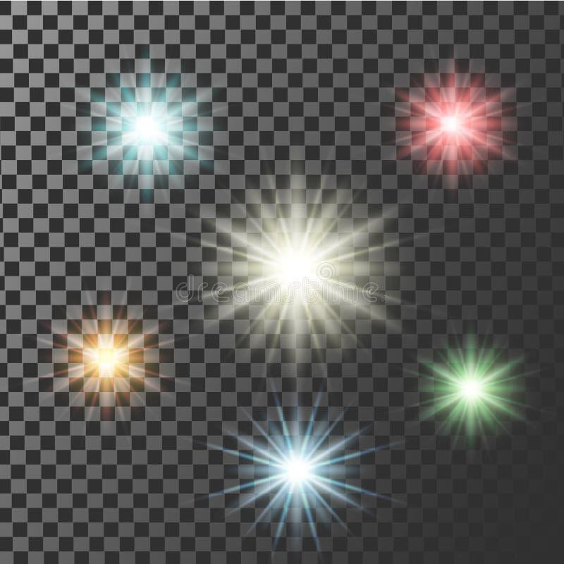 Veelkleurige het gloeien lichte uitbarstingsexplosie met transparant Vectorillustratie voor de koele effect fonkelingen van de de royalty-vrije illustratie