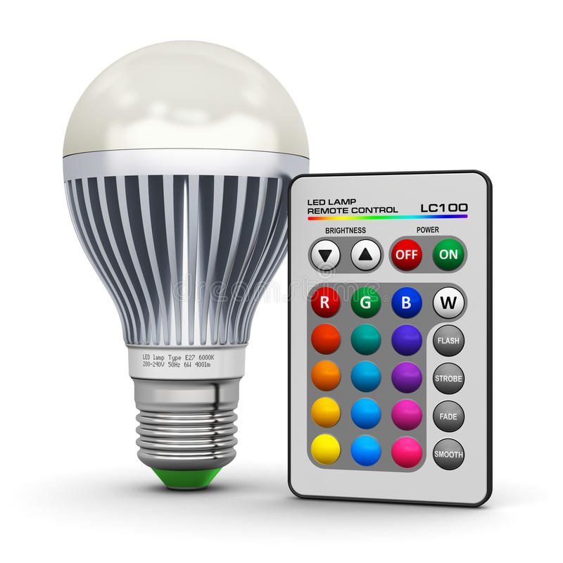 Veelkleurige LEIDENE lamp met draadloze afstandsbediening stock illustratie