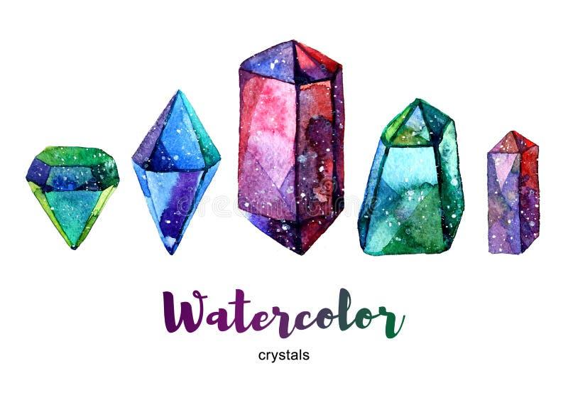 Veelkleurige mineralen Waterverfillustratie van kristal vector illustratie