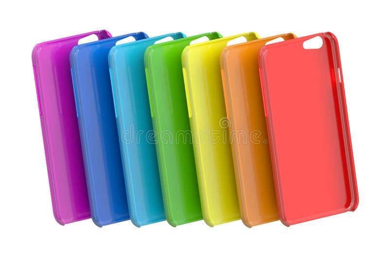 Veelkleurige Mobiele Telefoon plastic gevallen het 3d teruggeven vector illustratie