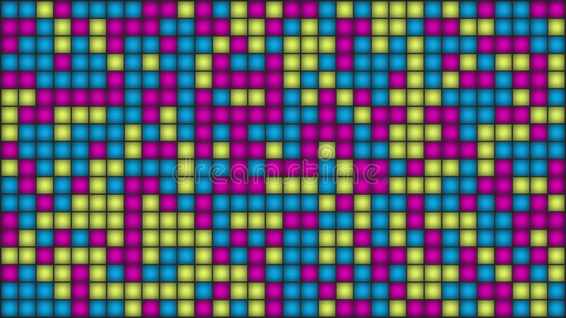 Veelkleurige mozaïeklampen of pixel op het scherm Groene Kerstmisbomen - Kerstmiswensen stock illustratie