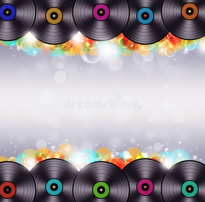 Veelkleurige Muziek Vinylachtergrond royalty-vrije illustratie