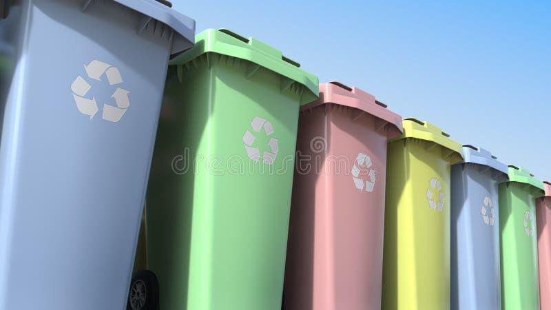 Veelkleurige plastic afvalcontainers met wielen het 3d teruggeven stock illustratie
