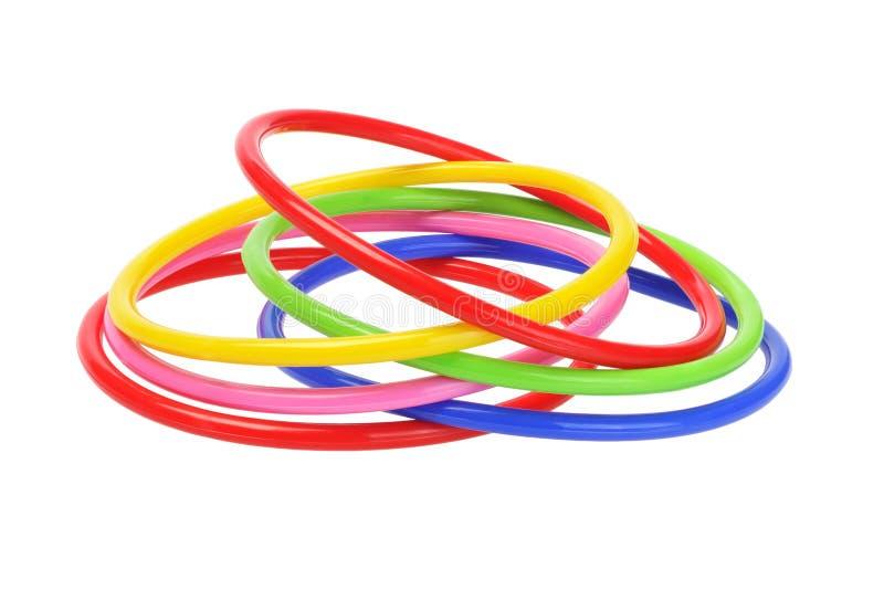 Veelkleurige Plastic Armbanden royalty-vrije stock afbeeldingen