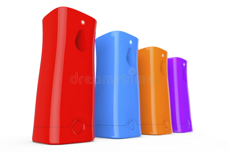 Veelkleurige Plastic Automatische Luchtverfrissingen het 3d teruggeven vector illustratie