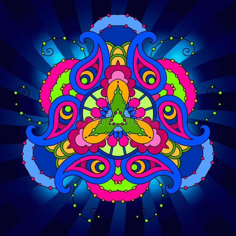 Veelkleurige psychedelische mandala op blauwe achtergrond met stralen stock illustratie