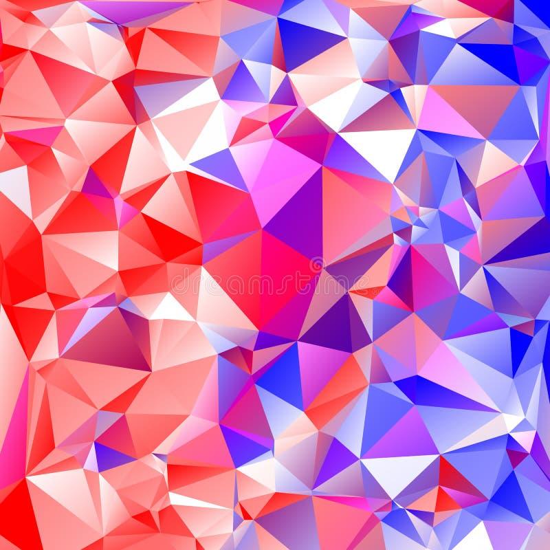 Veelkleurige rode, roze, blauwe veelhoekige illustratie, wat bestaan royalty-vrije illustratie