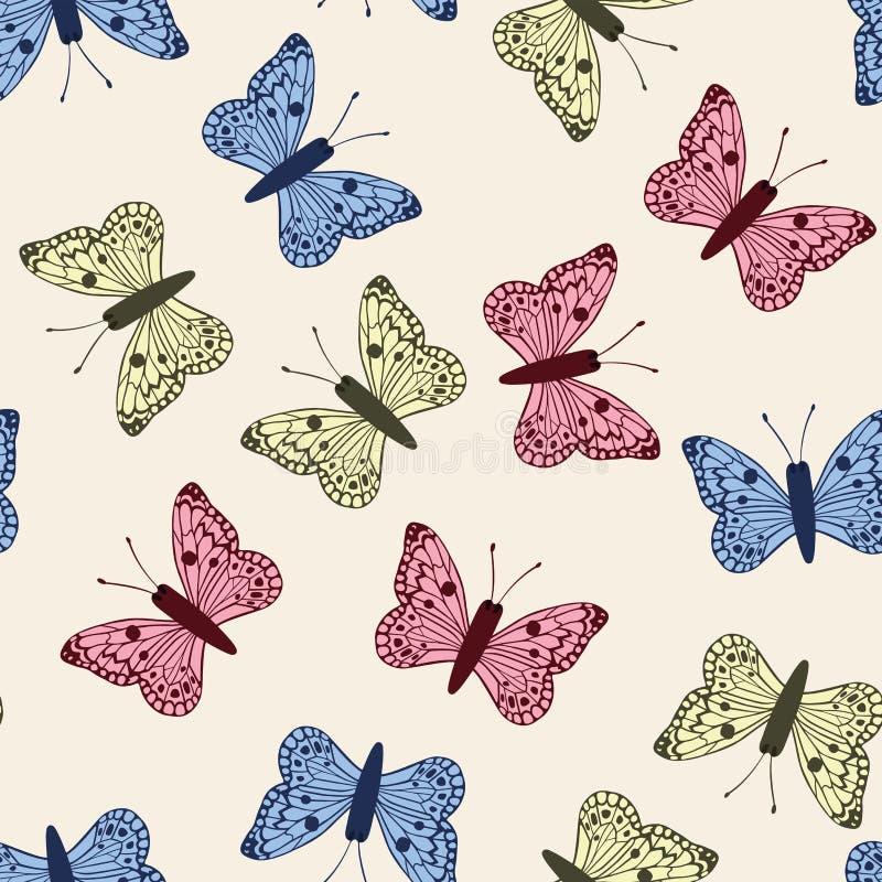 Veelkleurige vlinders geplaatst naadloos patroon witte achtergrond royalty-vrije illustratie
