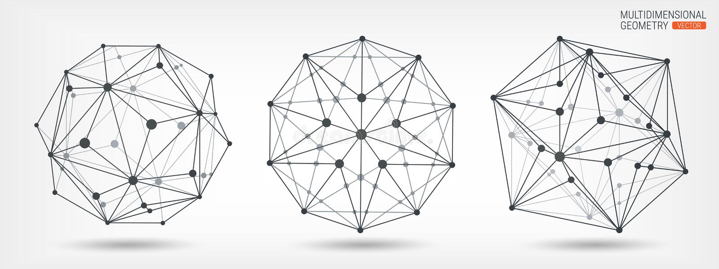 Veelvlakken Transparant kader van complexe vormen Geometrische vormen abstracte achtergrond Lijnen en punten Multidimensionele me royalty-vrije illustratie