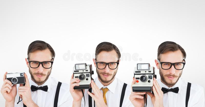 Veelvoudig beeld van de mens die retro camera met behulp van royalty-vrije stock foto