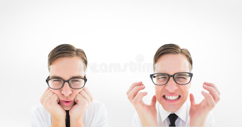Veelvoudig beeld van de mens met verschillende uitdrukkingen vector illustratie