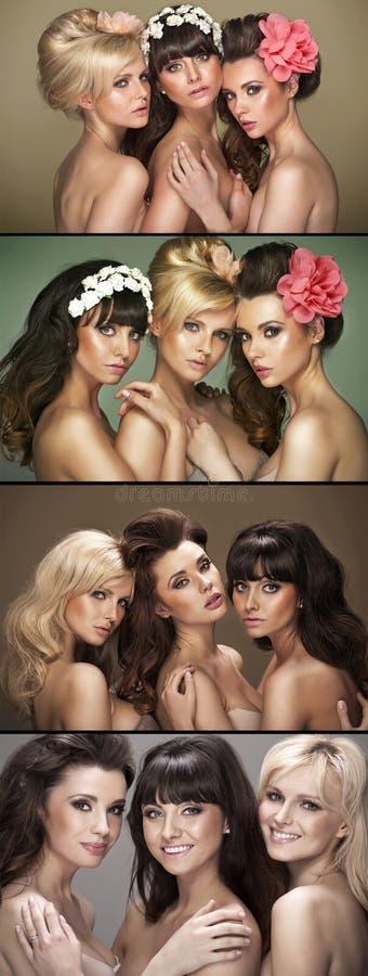 Veelvoudig beeld van drie mooie vrouwen stock afbeelding