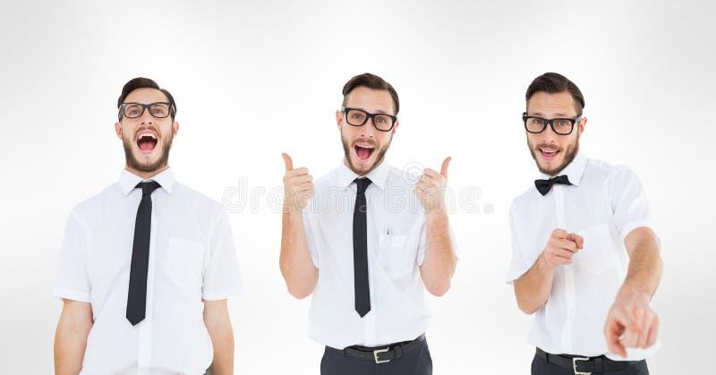 Veelvoudig beeld van mens het gesturing tegen witte achtergrond stock illustratie