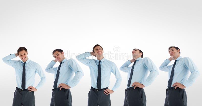 Veelvoudig beeld van verwarde zakenman tegen witte achtergrond stock illustratie