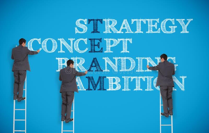 Veelvoudig beeld van zakenman het schrijven bedrijfstermijnen stock afbeelding