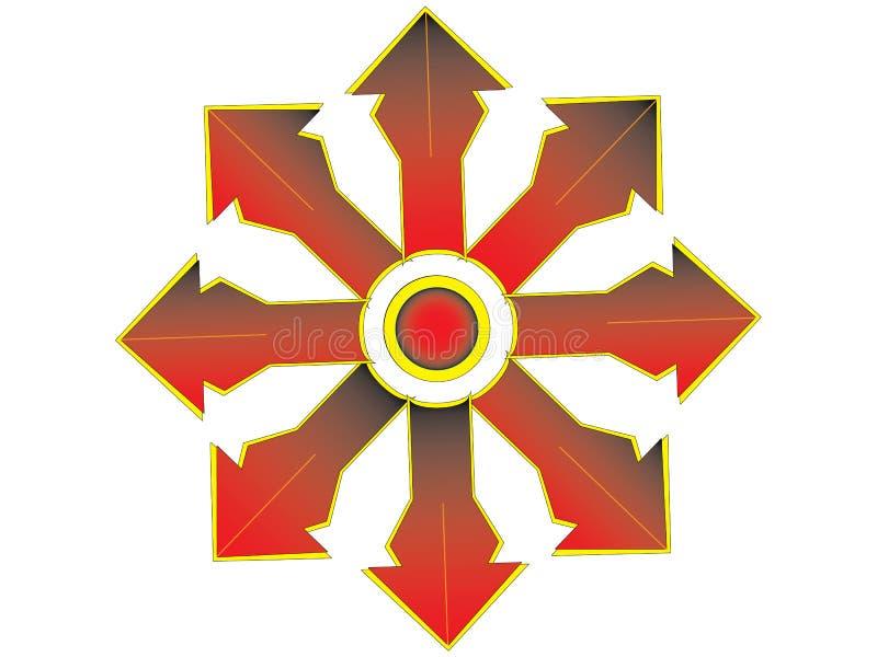 Veelvoudig rood kruis met oranje rand royalty-vrije stock afbeeldingen