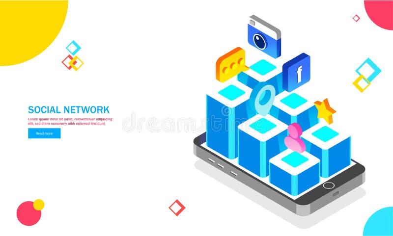 Veelvoudig sociaal media materiaal en toepassingen op smartphone royalty-vrije illustratie