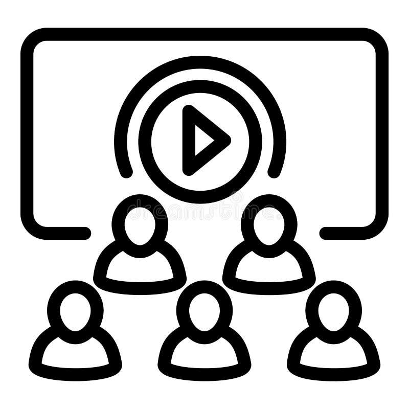 Veelvoudig video het bekijken pictogram, overzichtsstijl stock illustratie