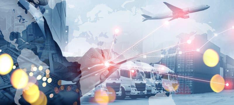 Veelvoudige blootstelling van zaken die, logistiek, de industrieachtergrond globaal verschepen stock afbeelding