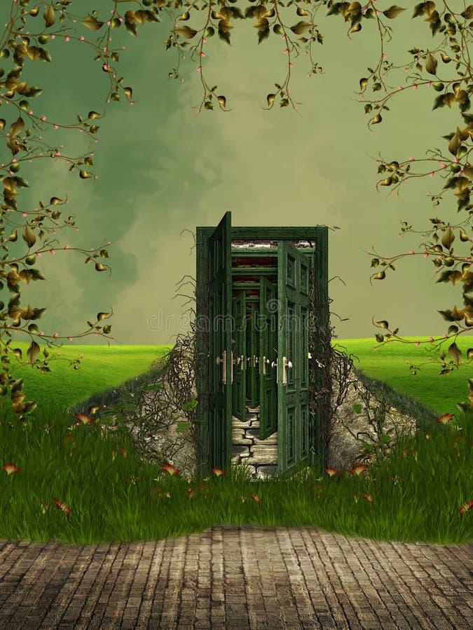 Veelvoudige deuren royalty-vrije illustratie