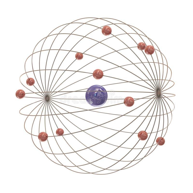 Veelvoudige elektronenwegen rond de kern stock illustratie