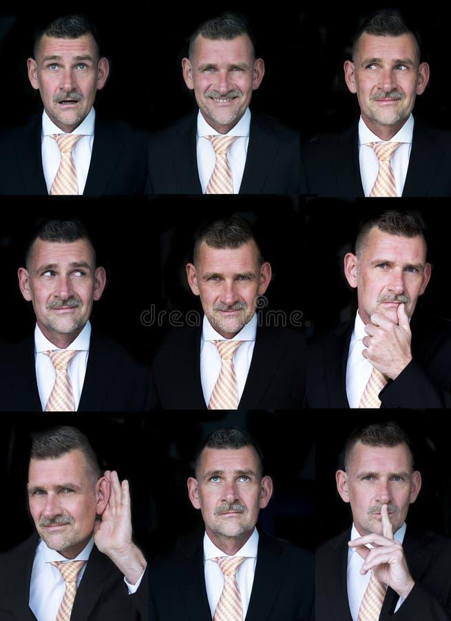 Veelvoudige gezichtensamenstelling van zakenman royalty-vrije stock afbeeldingen
