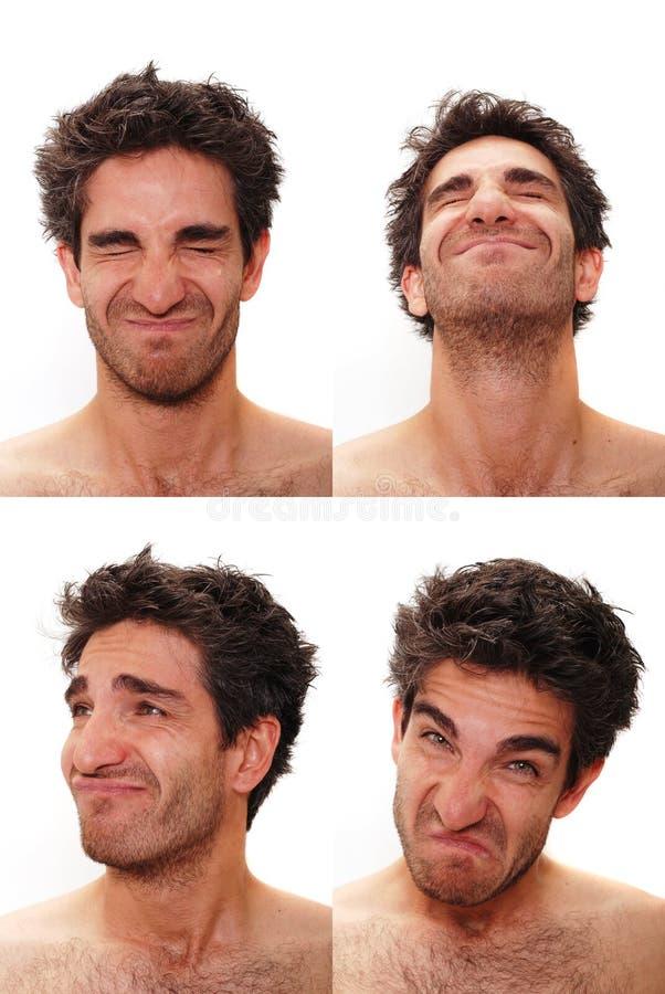 Veelvoudige mannelijke gelaatsuitdrukkingen royalty-vrije stock fotografie
