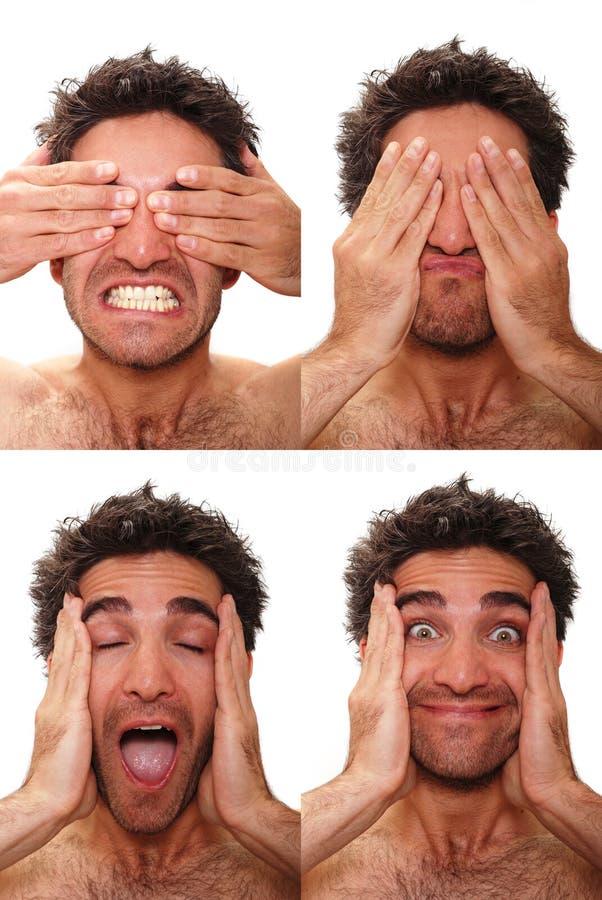 Veelvoudige mannelijke uitdrukkingen stock afbeelding